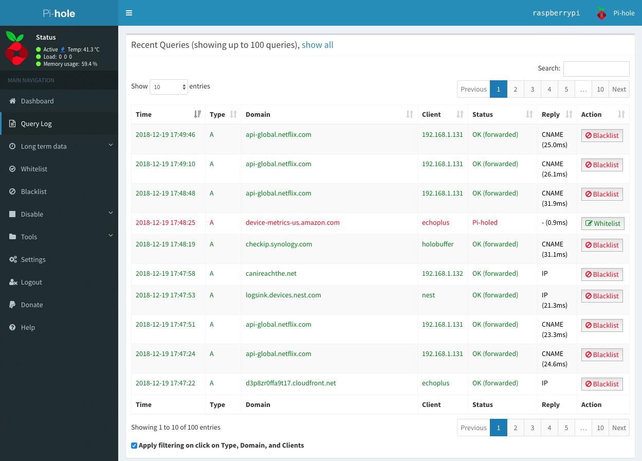Pi-Hole : Utiliser un raspberry Pi comme serveur DNS bloqueur de publicités - Sécuriser et surveiller son réseau relié à internet Screenshot-2018-12-19-17.50.40